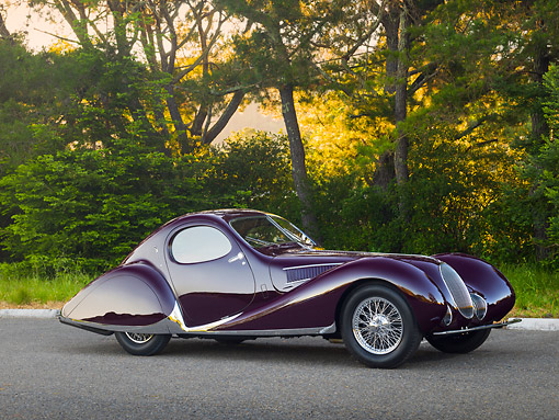 AUT 19 RK1069 01 © Kimball Stock 1938 Talbot-Lago T150C SS Teardrop Coupe Purple 3/4 Side View On Pavement By Trees