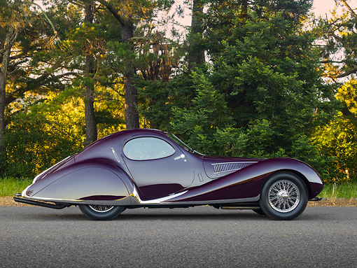 AUT 19 RK1070 01 © Kimball Stock 1938 Talbot-Lago T150C SS Teardrop Coupe Purple Profile View On Pavement By Trees