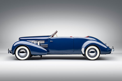 AUT 19 RK1078 01 © Kimball Stock 1937 Cord Supercharged 812 Phaeton Blue Profile View On White Seamless