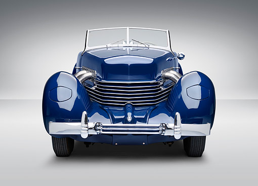 AUT 19 RK1083 01 © Kimball Stock 1937 Cord Supercharged 812 Phaeton Blue Front View On White Seamless