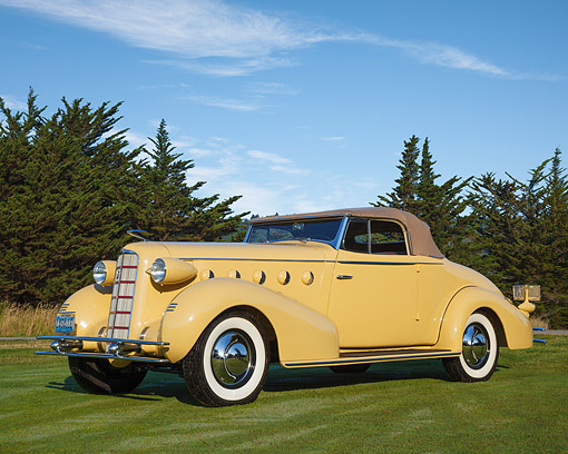 AUT 19 RK1087 01 © Kimball Stock 1934 La Salle Convertible Coupe 350 Cream 3/4 Front View On Grass By Trees