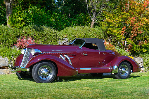 AUT 19 RK1098 01 © Kimball Stock 1936 Auburn 852 Speedster Maroon 3/4 Side View On Grass By Trees