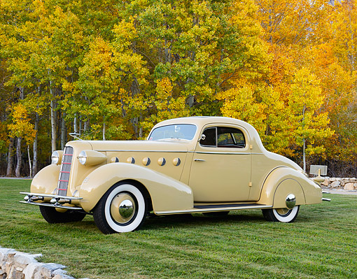 AUT 19 RK1103 01 © Kimball Stock 1934 La Salle 350 Series 2-Door Coupe Diana Cream 3/4 Front View On Grass By Autumn Trees