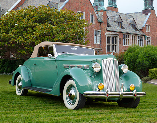 AUT 19 RK1107 01 © Kimball Stock 1937 Packard 120 Coupe Convertible Sage Green 3/4 Front View On Grass By Brick House
