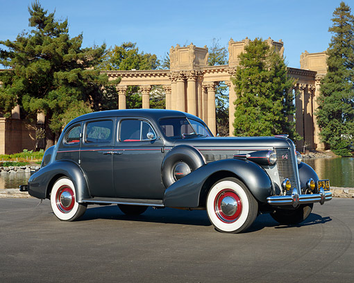 AUT 19 RK1118 01 © Kimball Stock 1937 Buick Special Charcoal Gray 3/4 Side View On Pavement By Palace Of Fine Arts