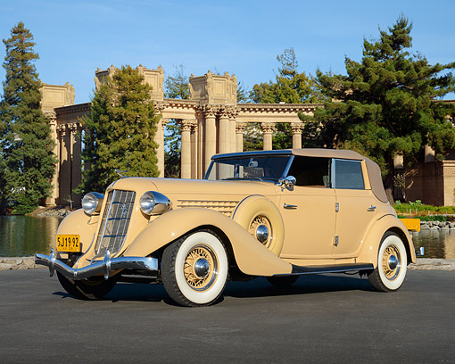 AUT 19 RK1120 01 © Kimball Stock 1935 Auburn Cream 3/4 Side View On Pavement By Palace Of Fine Arts