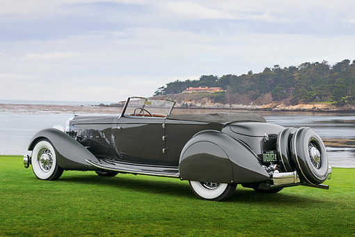 AUT 19 RK1128 01 © Kimball Stock 1934 Packard 1108 Twelve Dietrich Convertible Victoria Gray 3/4 Rear View On Grass By Water Pebble Beach