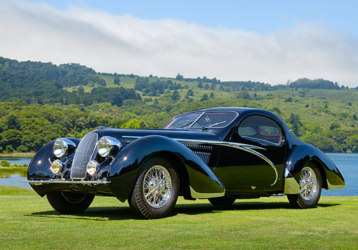 AUT 19 RK1135 01 © Kimball Stock 1938 Talbot Lago T150-C Lago Speciale Tear Drop Coupe Black On Grass By Lake
