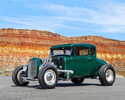 AUT 19 RK1139 01 © Kimball Stock 1930 Ford 5-Window Coupe Side View In Rocky Desert