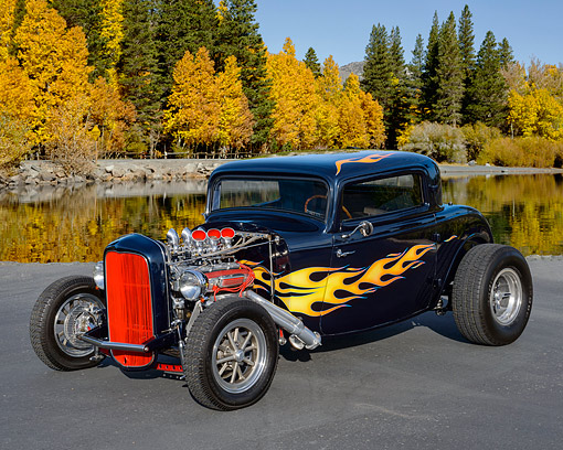 AUT 19 RK1142 01 © Kimball Stock 1932 3-Window Coupe Dark Blue With Flames By Autumn Lake