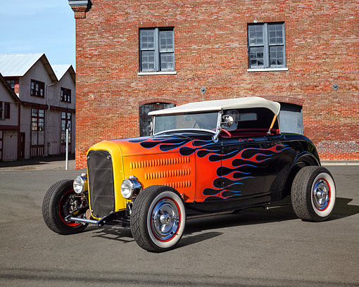 AUT 19 RK1144 01 © Kimball Stock 1932 Ford Roadster Black With Flames And White Top In Old Town