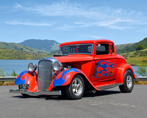 AUT 19 RK1145 01 © Kimball Stock 1933 Plymouth 3-Window Coupe Red By Lake