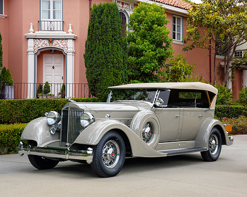 AUT 19 RK1155 01 © Kimball Stock 1934 Packard 1104 Super Eight Dual Cowl 3/4 Front View By Mansion