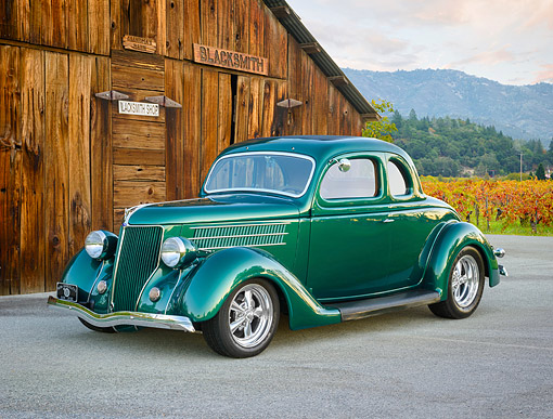 AUT 19 RK1161 01 © Kimball Stock 1937 Ford Green 3/4 Front View By Blacksmith Shop
