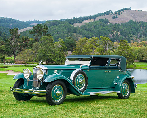 AUT 19 RK1183 01 © Kimball Stock 1931 Minerva AL Rollston Sedan Convertible Green 3/4 Front View On Lake