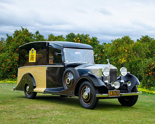 AUT 19 RK1184 01 © Kimball Stock 1933 Rolls Royce One-Of-A-Kind J&B Scotch Whiskey Delivery Van 3/4 Front View By Orchard