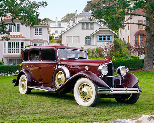 AUT 19 RK1190 01 © Kimball Stock 1930 Marmon Big 8 Maroon 3/4 Front View By Houses