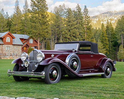AUT 19 RK1193 01 © Kimball Stock 1932 Packard 903 Coupe Roadster Maroon 3/4 Front View By Trees