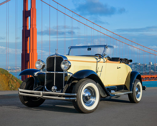 AUT 19 RK1203 01 © Kimball Stock 1931 Buick LaSalle Convertible Beige 3/4 Front View By Bridge