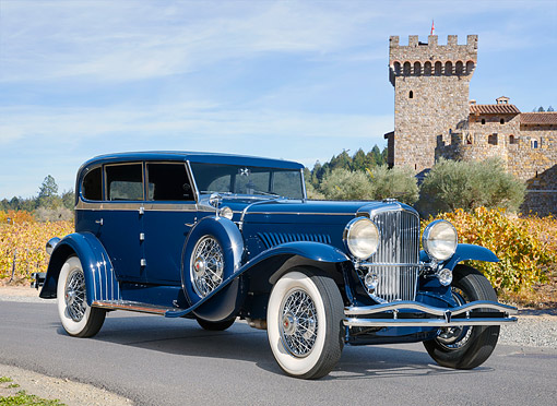 AUT 19 RK1206 01 © Kimball Stock 1930 Duesenberg Model J Blue 3/4 Front View By Vineyard And Castle