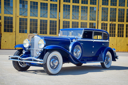 AUT 19 RK1207 01 © Kimball Stock 1930 Duesenberg Model J Blue 3/4 Front View By Building
