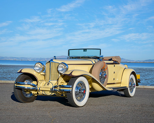 AUT 19 RK1211 01 © Kimball Stock 1930 Cord L-29 Cabriolet Beige 3/4 Front View By Ocean