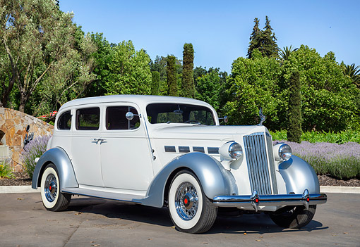 AUT 19 RK1220 01 © Kimball Stock 1937 Packard Super Eight Limousine White And Silver 3/4 Front View By Trimmed Bushes