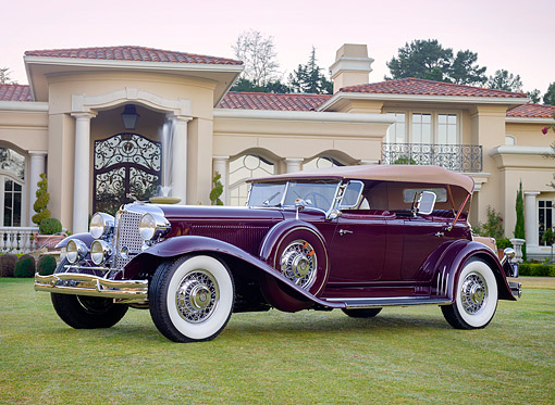AUT 19 RK1223 01 © Kimball Stock 1931 Chrysler Imperial CG Dual-Cowl Phaeton By LeBaron Maroon 3/4 Front View On Lavish Estate