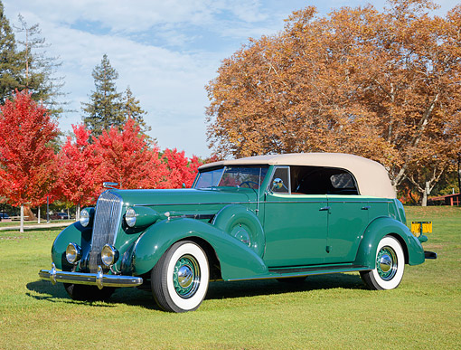AUT 19 RK1224 01 © Kimball Stock 1936 Buick Series 80 Roadmaster Convertible Green 3/4 Front View On Grass By Autumn Tress