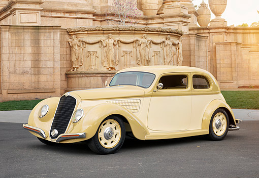 AUT 19 RK1228 01 © Kimball Stock 1938 Alfa Romeo 6C Corto Tan And Ivory 3/4 Front View By Building