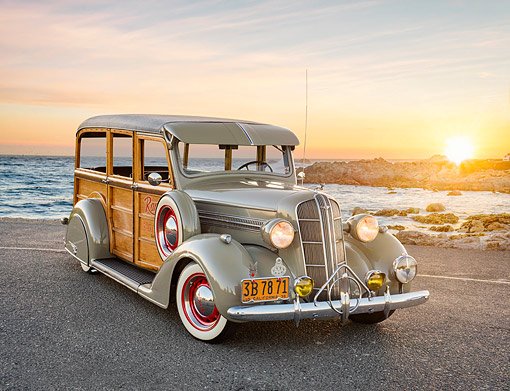 AUT 19 RK1229 01 © Kimball Stock 1936 Dodge Woodie Gray 3/4 Front View On Pavement By Ocean