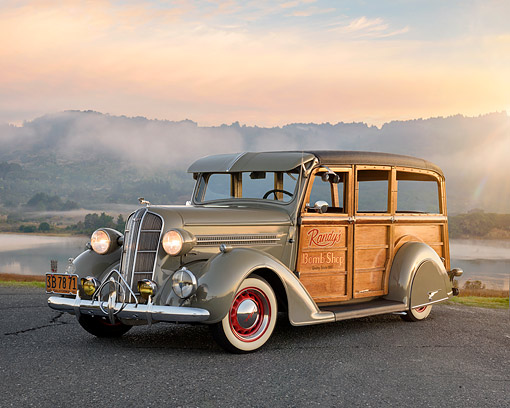 AUT 19 RK1230 01 © Kimball Stock 1936 Dodge Woodie Gray 3/4 Front View On Pavement By Ocean