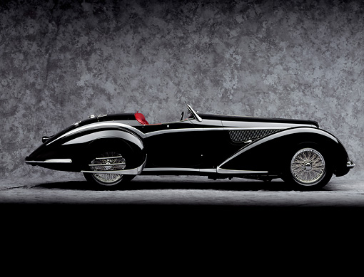 AUT 19 RK0006 05 © Kimball Stock 1937 Alpha Romeo 8C 2900B Spider Side View On Gray Floor And Background