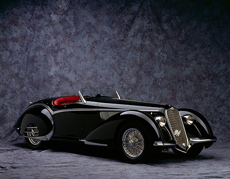 AUT 19 RK0009 05 © Kimball Stock 1937 Alfa Romeo 8C 2900B Spider Black 3/4 Front View On Gray Mottled Background Studio