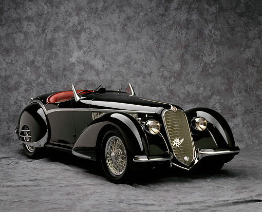AUT 19 RK0009 19 © Kimball Stock 1937 Alfa Romeo 8C 2900B Spider Black 3/4 Front View On Gray Mottled Background Studio