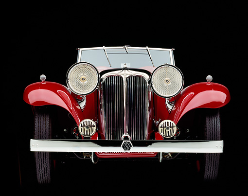 AUT 19 RK0012 07 © Kimball Stock 1933 SS Sport Tourer Roadster Red Head On Studio