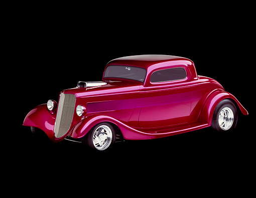 AUT 19 RK0037 13 © Kimball Stock 1933 Ford Plumb Crazy Street Rod 3/4 Side View Studio