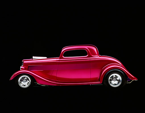AUT 19 RK0038 08 © Kimball Stock 1933 Ford Plumb Crazy Street Rod Profile Shot Studio