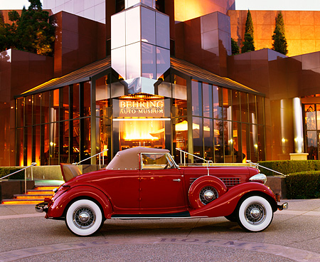 AUT 19 RK0044 02 © Kimball Stock 1936 Auburn Cabriolet Red Profile By Museum At Night