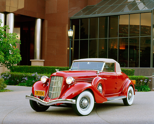 AUT 19 RK0045 06 © Kimball Stock 1936 Auburn Cabriolet Red 3/4 Front View By Building