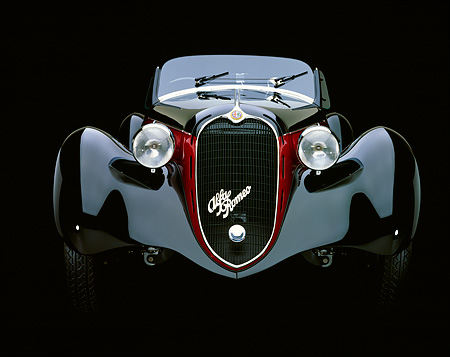 AUT 19 RK0079 06 © Kimball Stock 1939 Alfa Romeo 2500 Super Sport 6C Black And Red Head On Shot Studio