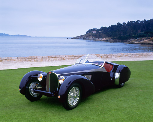 AUT 19 RK0092 04 © Kimball Stock 1938 Bugatti Type 57SC Corsica Roadster 3/4 Front View On Grass By Water