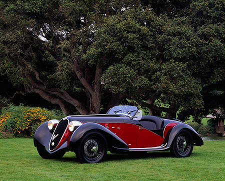 AUT 19 RK0099 01 © Kimball Stock 1939 Alfa Romeo 2500 Super Sport 6C Red And Black 3/4 Front View On Grass