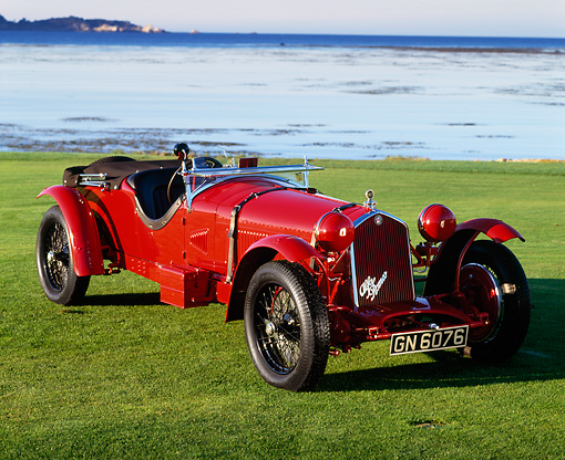 AUT 19 RK0131 08 © Kimball Stock 1931 Alfa Romeo 8C 2.3 Le Mans Red 3/4 Front View On Grass By Ocean