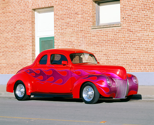 AUT 19 RK0188 02 © Kimball Stock 1939 Ford Coupe Red With Flames Hot Rod 3/4 Front View By Building