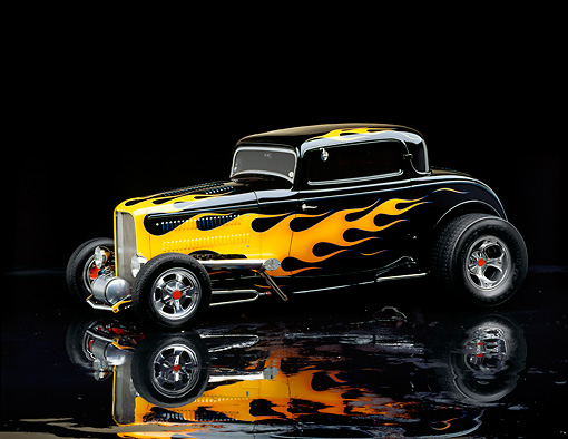 AUT 19 RK0223 03 © Kimball Stock 1932 Black Ford Coupe Black With Flames 3/4 Front View Studio