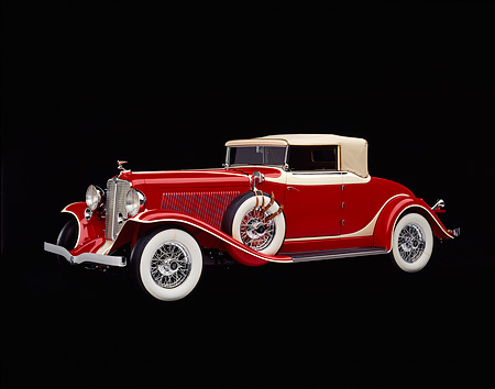 AUT 19 RK0232 01 © Kimball Stock 1932 Red Auburn Cabriolet, 3/4 front in studio on black