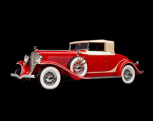 AUT 19 RK0232 04 © Kimball Stock 1932 Red Auburn Cabriolet, 3/4 front in studio on black