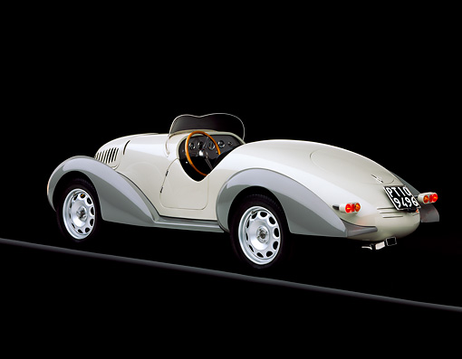 AUT 19 RK0298 01 © Kimball Stock 1938 Siata Zagato Cream 3/4 Rear View On Gray Line Brake Lights On Studio
