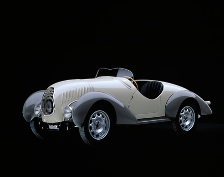 AUT 19 RK0301 06 © Kimball Stock 1938 Siata Zagato Convertible Cream 3/4 Side View Studio